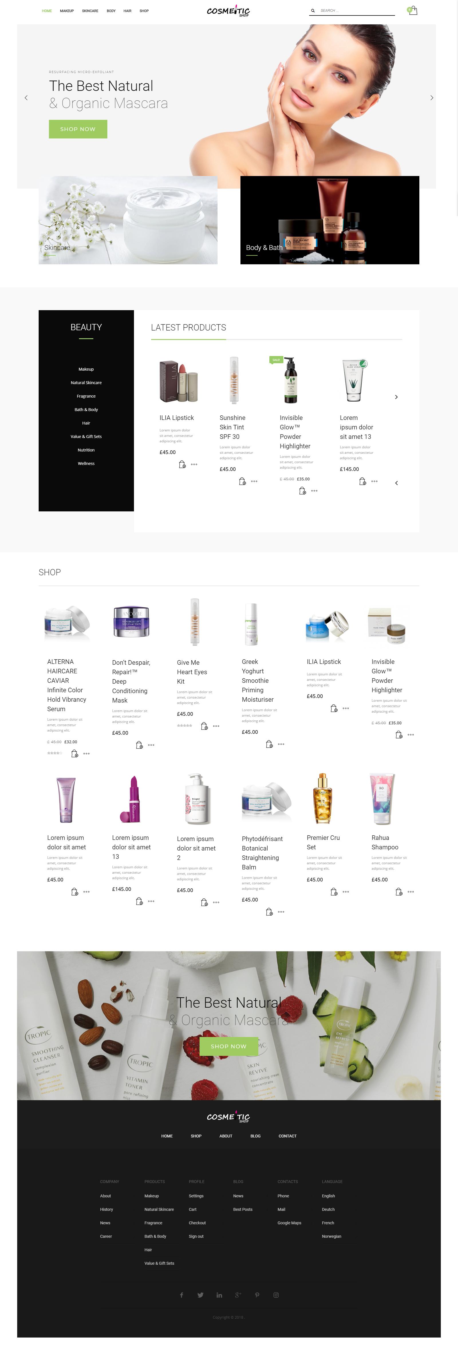 cosmetics - web design